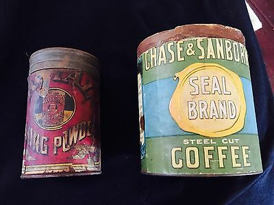 vintage coffee can/bakng powder tins