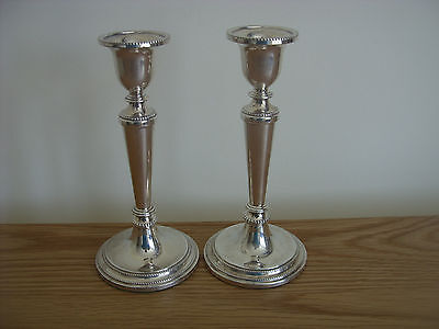 A Pair Of Solid Silver Candle Sticks Assayed Birmingham 1985