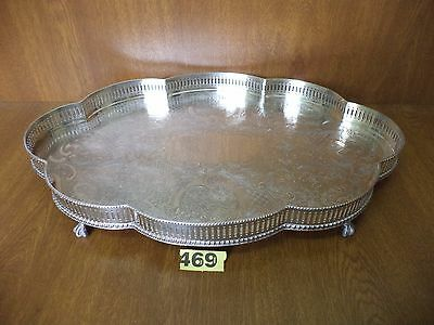 Excellent Vintage Mappin & Webb 18 Inch Silver Plated Gallery Drinks Tray