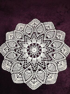 Vintage white hand crochet small tablecloth