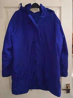 Ladies Blue Hooded Coat Jacket By Being Casual Size 18