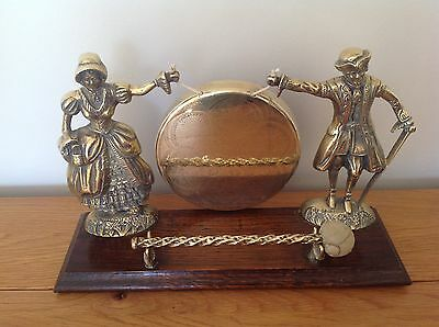 Vintage Brass Dinner Gong with Victorian Style Figures.