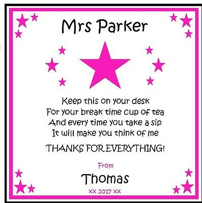 Personalised Drink Coaster-Teacher Teaching Assistant PINK STAR - Thank you gift