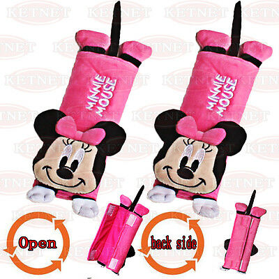 2X  Minnie mouse Comfortable fluff Car Seat Belt Cover Shoulder Cushion Pad #A01