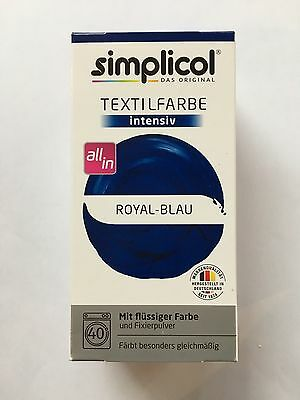 "Simplicol Textilfarbe intensiv all in 1 -Flüssige Rezeptur ""Royal Blue"" Neu!"