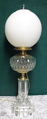 Antique Vintage Crystal GWTW Parlor Banquet Oil Lamp Light Milk Glass Shade