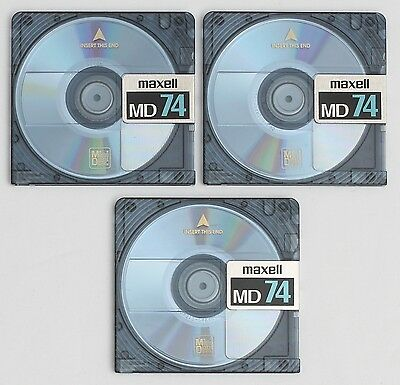 Genuine Maxell 'MD74' Translucent Blue MiniDiscs (x3) 74 Minutes w/ Cases