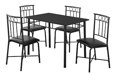 Monarch I 1018 Dining Set - 5Pcs Set / Black Metal And Top