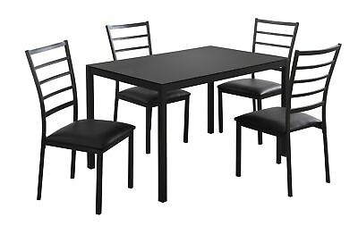 Monarch I 1025 Dining Set - 5Pcs Set / Black Metal /Black Tempered Glass