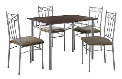 Monarch I 1020 Dining Set - 5Pcs Set / Cappuccino / Silver Metal