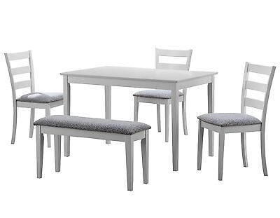 Monarch I 1210 Dining Set - 5Pcs Set / White Bench And 3 Side Chairs
