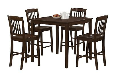 Monarch I 1548 Dining Set - 5Pcs Set / Cappuccino Veneer Counter Height