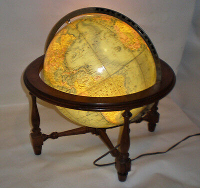 Rare illuminated Lighted Replogle World Globe VTG Mini Diplomat Lamp Wooden Base