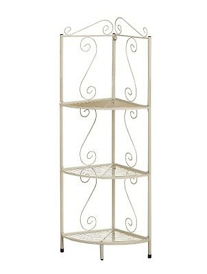 "Monarch I 2102 Bookcase - 48""H / White Hammered Metal Corner Etagere"