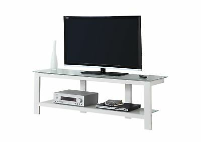 """Monarch I 2510 Tv Stand - 60""""L / White Metal With Frosted Tempered Glass"""