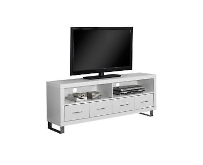 """Monarch I 2518 Tv Stand - 60""""L / White With 4 Drawers"""