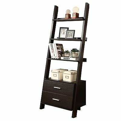 "Monarch I 2542 Bookcase - 69""H / Cappuccino Ladder W/ 2 Storage Drawers"