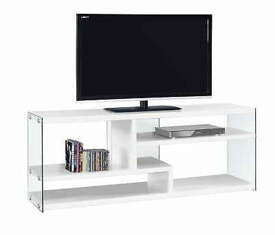 """Monarch I 2690 Tv Stand - 60""""L / Glossy White With Tempered Glass"""