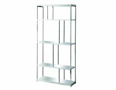 "Monarch I 3029 Bookcase - 72""H / Glossy White With Chrome Metal"