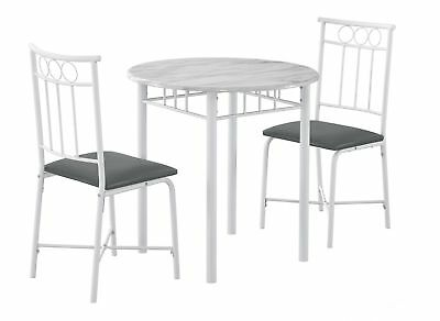 Monarch I 3085 Dining Set - 3Pcs Set / White Marble / White Metal