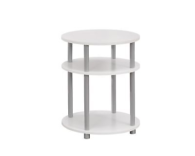 "Monarch I 3132 Accent Table - 19""Dia / White With Silver Accent"