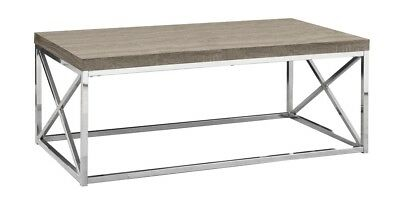 Monarch I 3258 Coffee Table - Dark Taupe With Chrome Metal