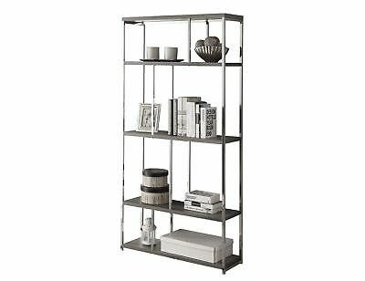 "Monarch I 3260 Bookcase - 72""H / Dark Taupe With Chrome Metal"