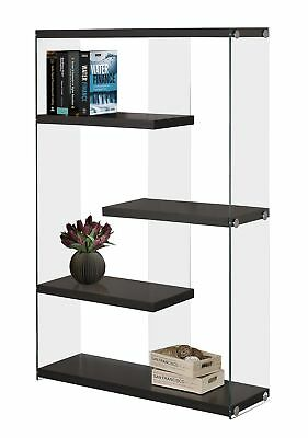 "Monarch I 3284 Bookcase - 60""H / Cappuccino With Tempered Glass"