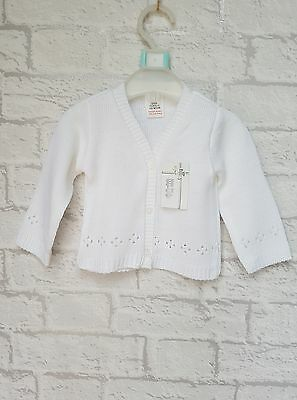 New Baby Girls Traditional White Knitted Cardigan  - Perfect for Christening