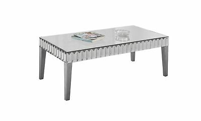 """Monarch I 3720 Coffee Table - 48""""X 24"""" / Brushed Silver / Mirror"""