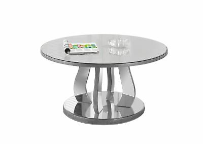 """Monarch I 3725 Coffee Table - 36""""Dia / Brushed Silver / Mirror"""