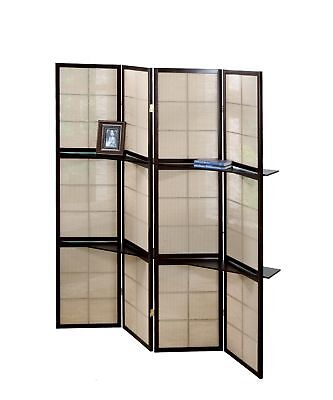 Monarch I 4624 Folding Screen - 4 Panel / Cappuccino / 2 Display Shelves