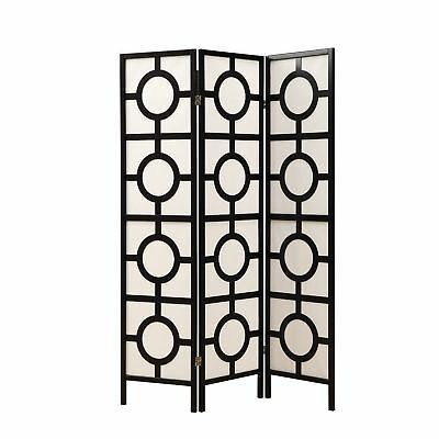 "Monarch I 4619 Folding Screen - 3 Panel / Black Frame"" Circle Design """