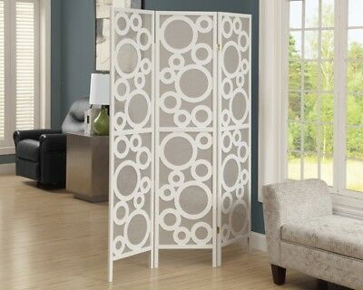 "Monarch I 4635 Folding Screen - 3 Panel / White Frame "" Bubble Design """