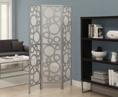 "Monarch I 4636 Folding Screen - 3 Panel / Silver "" Bubble Design """
