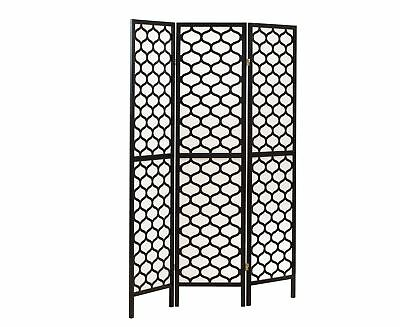 "Monarch I 4639 Folding Screen - 3 Panel / Black Frame "" Lantern Design """