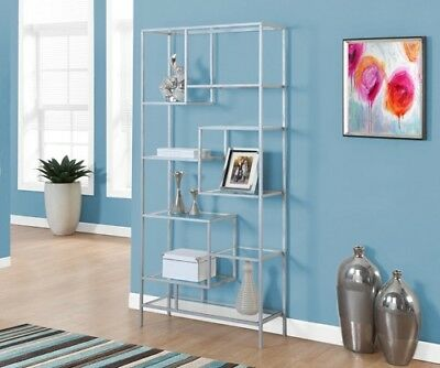 "Monarch I 7158 Bookcase - 72""H / Silver Metal With Tempered Glass"