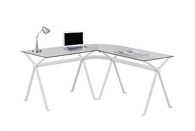 Monarch I 7168 Computer Desk - White Metal With Tempered Glass