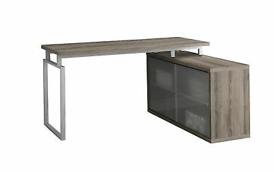 Monarch I 7335 Computer Desk - Dark Taupe Corner With Frosted Glass