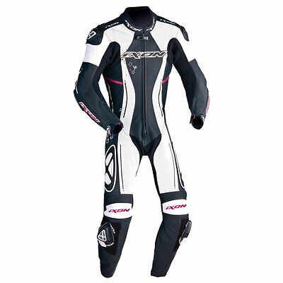 Ixon Astrale Ladies One Piece Motorcycle Leathers New for 2017 Black/White/Pink