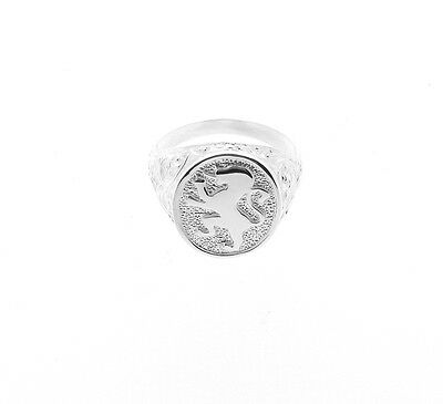Gent's Sterling Silver Lion Oval Signet Ring - Hand Finished Made in the UK