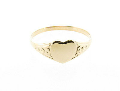 9ct Yellow Gold Children's Fancy Heart Design Signet Ring - Made in England
