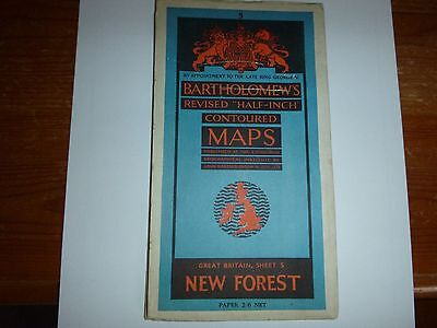 Vintage Bartholomew map of new forest and Isle of Wight