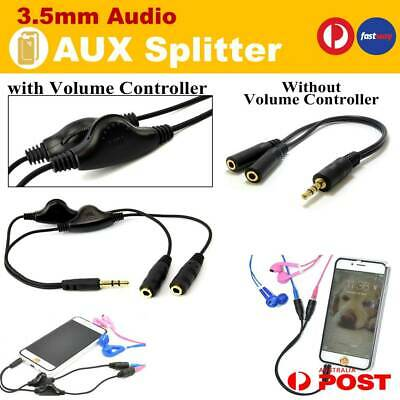 AUX 3.5mm Male to 2 Dual Female Audio Jack Plug Headphone Splitter Cable Adapter