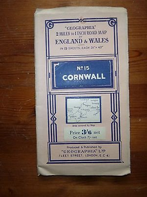 Vintage Geographia Road Map of Cornwall No 15 in a series