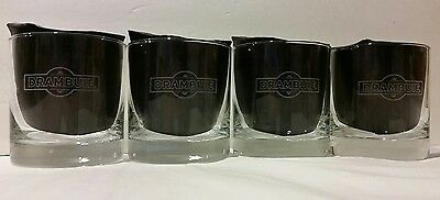 Set Of 4 Drambuie Scotch Whiskey Etched Rocks Glasses