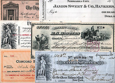 Lot Of 16 Historic Us Checks 1870-1920 @ $1.25! Numerous Rarities! Values To $25
