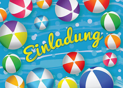 12 einladungskarten einladungen kindergeburtstag schwimmbad party wasserball eur 7 40. Black Bedroom Furniture Sets. Home Design Ideas