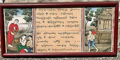 19th Century Thai Buddhist Manuscript With 2 Paintings