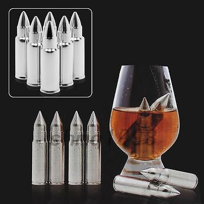 Useful 6x Bullet Stainless Steel Ice Cube Whiskey Whisky Stones Wine Cooler